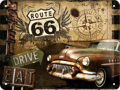 Route 66 Drive Eat Metal Sign 15 x 20cm