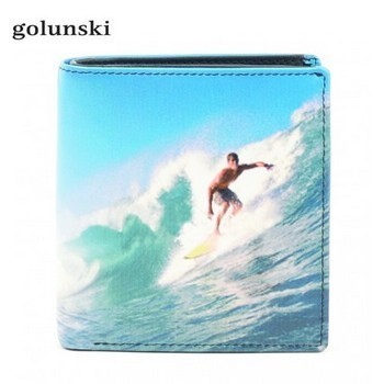 Golunski Surfing Design Leather Tri-Fold Wallet