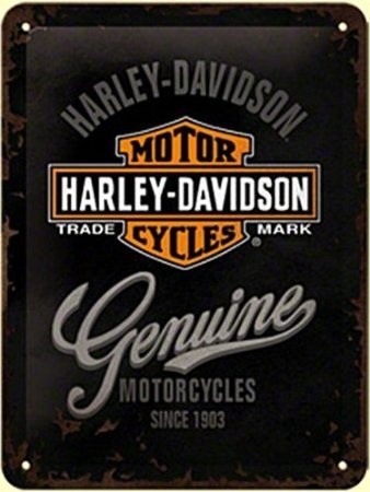 Harley Davidson Genuine Logo Large Metal Sign 30 x 40cm