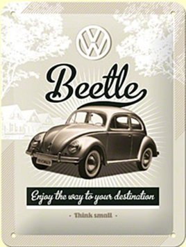 VW Beetle Think Small Metal Sign 15 x 20cm