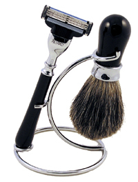 Artamis Black And Chrome Shaving Stand With Razor And Badger Brush Set