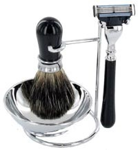 Artamis Black And Chrome Shaving Stand With Bowl, Razor And Badger Brush Set