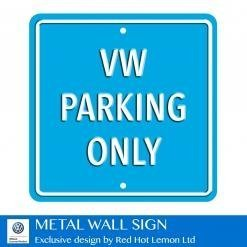 VW Parking Only Light Blue Heavy Duty Steel Outdoor Metal Sign 30 x 30cm