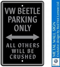 VW Beetle Parking Only Black Heavy Duty Steel Outdoor Large Metal Sign 30 x 45cm
