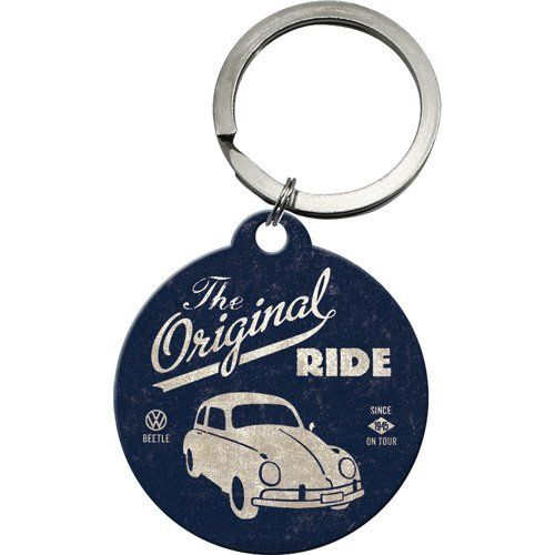 VW Beetle Original Ride Metal Keyring With Back Print