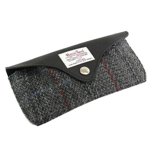 British Bag Company Berneray Tartan Harris Tweed And Leather Glasses Case