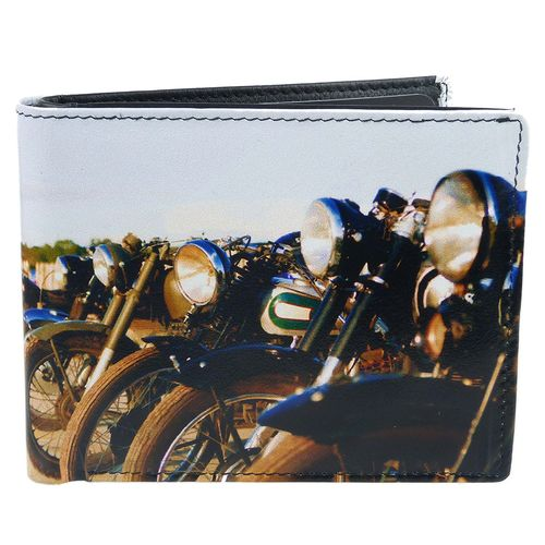 Golunski Old Motorbikes Design Leather Bi-Fold Wallet