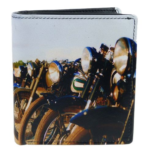 Golunski Old Motorbikes Design Leather Tri-Fold Wallet