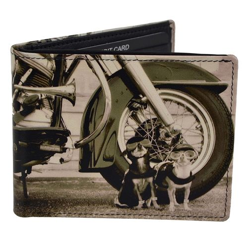 Golunski Dogs And Motorbike Design Leather Bi-Fold Wallet