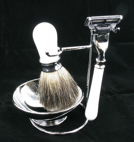 Artamis White And Chrome Shaving Stand With Bowl, Razor And Badger Brush Set