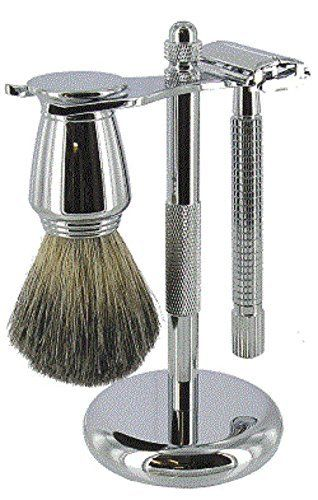 Artamis Chrome Shaving Stand With Razor And Mixed Badger Brush Set