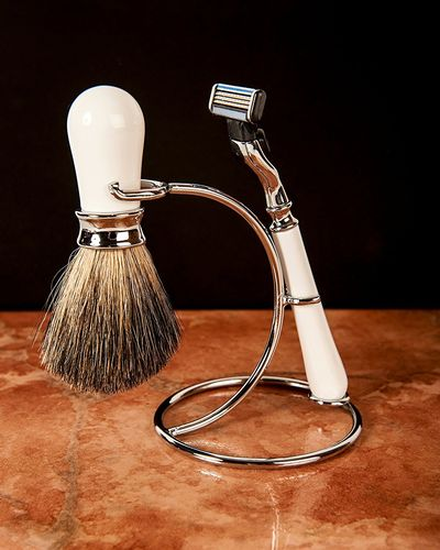 Artamis White And Chrome Shaving Stand With Razor And Badger Brush Set