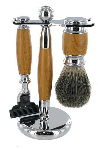 Artamis Chrome And Light Wood Shaving Stand With Razor And Badger Brush Set