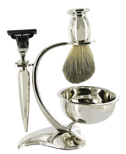 Artamis Chrome Shaving Stand With Bowl, Razor And Badger Brush Set
