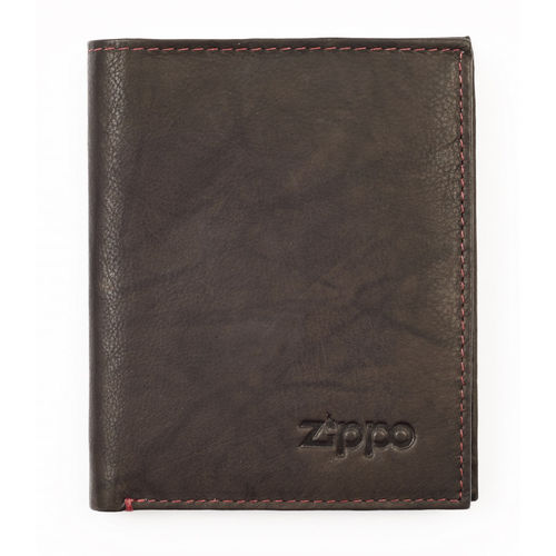Zippo Mocha Leather Bi-Fold Vertical Wallet With Coin Pocket