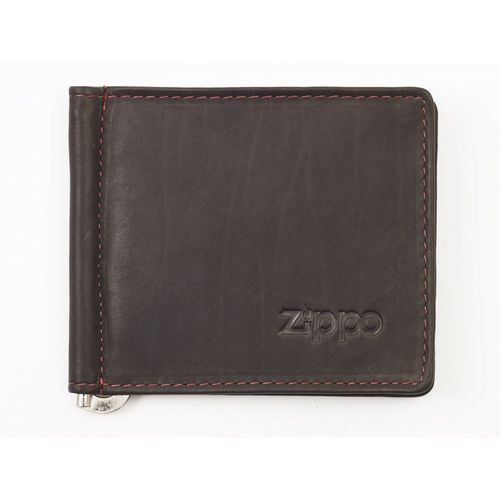 Zippo Mocha Leather Bi-Fold Vertical Wallet With Money Clip
