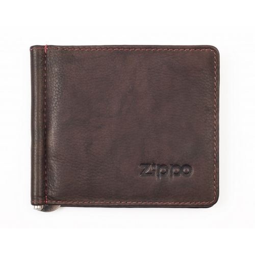 Zippo Brown Leather Bi-Fold Vertical Wallet With Money Clip