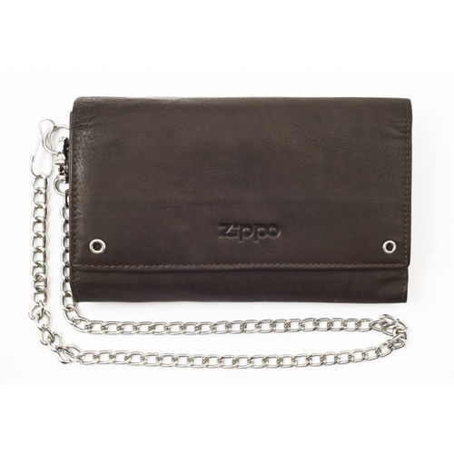 Zippo Mocha Leather Tri-Fold Bikers Wallet With Chain