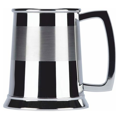 Stainless Steel 1 Pint Satin Band Tankard With FREE ENGRAVING