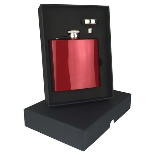 Stainless Steel Red 6oz Hip Flask Set With FREE ENGRAVING