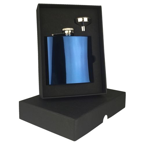 Stainless Steel Blue 6oz Hip Flask Set With FREE ENGRAVING