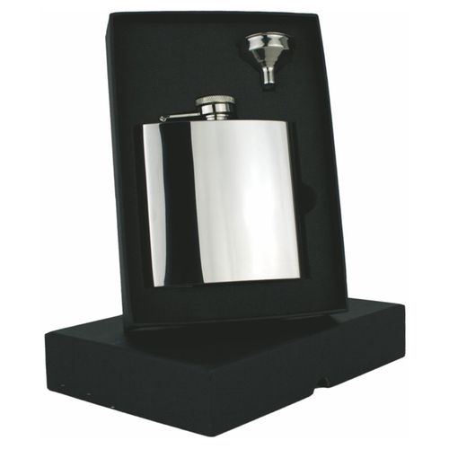 Stainless Steel Polished 6oz Hip Flask Set With FREE ENGRAVING