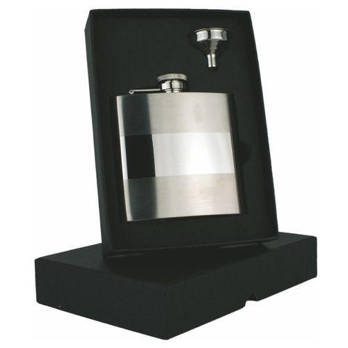 Stainless Steel Banded 6oz Hip Flask Set With FREE ENGRAVING