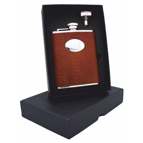 Stainless Steel Brown Faux Croc 6oz Hip Flask Set With FREE ENGRAVING