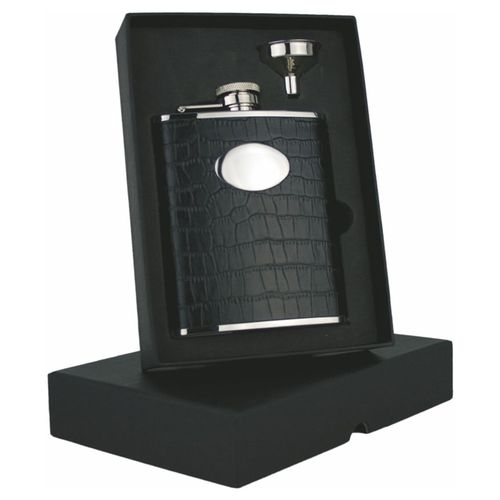 Stainless Steel Black Faux Croc 6oz Hip Flask Set With FREE ENGRAVING