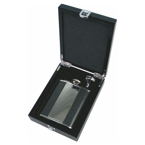 Stainless Steel Carbon Covered 6oz Hip Flask Deluxe Set With FREE ENGRAVING