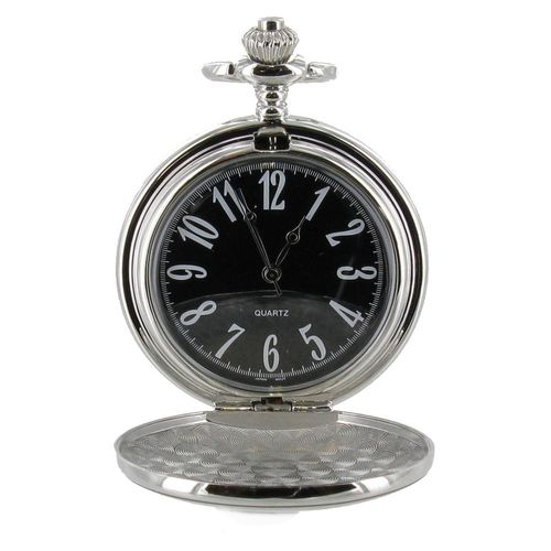 Full Hunter Silver Colour Black Dial Pocket Watch