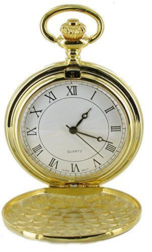 Full Hunter Gold Colour White Dial Pocket Watch