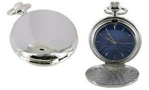 Full Hunter Silver Colour Blue Dial Pocket Watch