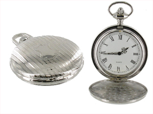 Full Hunter Silver Colour With Engraving Shield Pocket Watch