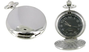 Full Hunter Silver Colour Carbon Fibre Dial Pocket Watch
