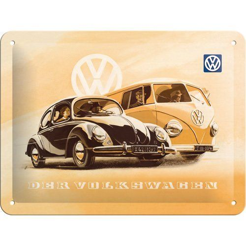 VW Beetle And Campervan Metal Sign 15 x 20cm