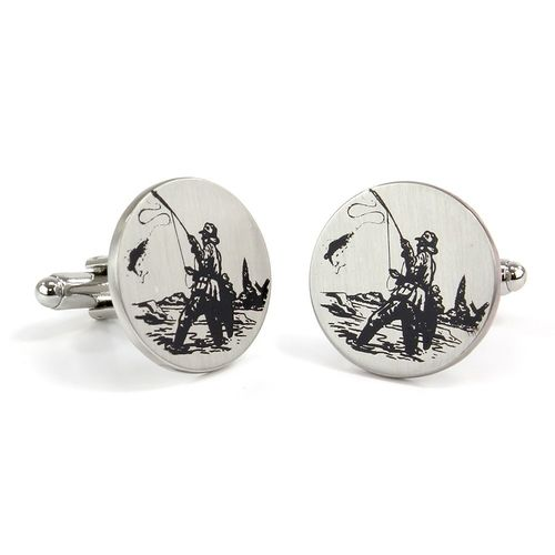 Mag Mouch Fishing Scene Print Cufflinks