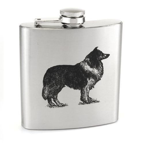 Stainless Steel 6oz Sheep Dog Print Hip Flask