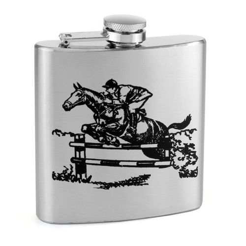 Stainless Steel 6oz Show Jumper Print Hip Flask