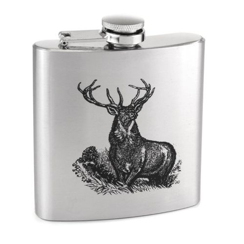 Stainless Steel 6oz Stag Print Hip Flask