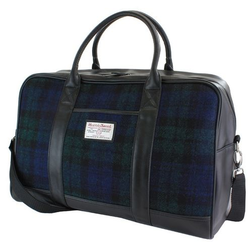 British Bag Company Black Watch Tartan Harris Tweed Holdall