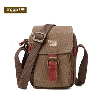 Troop London Classic Canvas Small Across The Body Bag In Brown