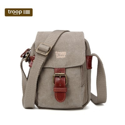 Troop London Classic Canvas Small Across The Body Bag In Khaki