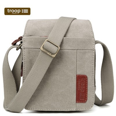 Troop London Classic Canvas Across The Body Bag In Khaki