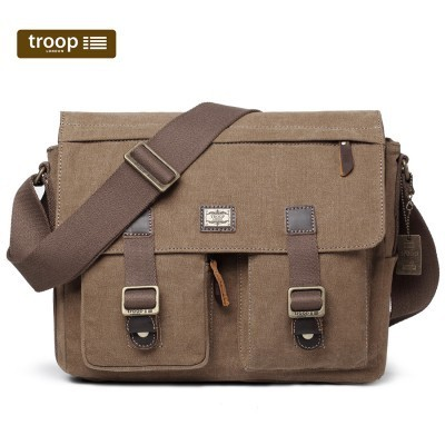 Troop London Classic Canvas Large Messenger Bag In Brown