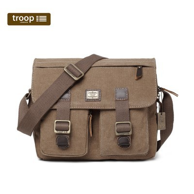 Troop London Classic Canvas Messenger Bag In Brown
