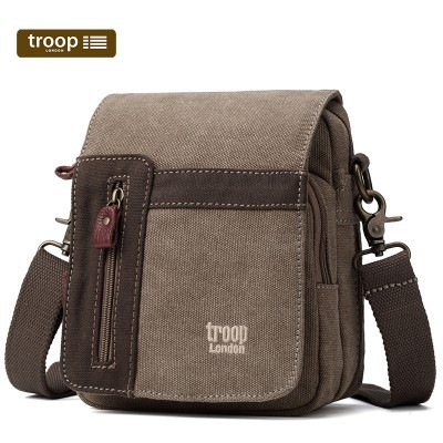 Troop London Classic Canvas Across The Body Bag In Brown