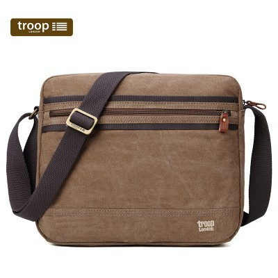 Troop London Classic Canvas Large Messenger/Tablet Bag In Brown
