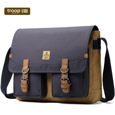 Troop London Heritage Canvas Large Messenger/Tablet Bag In Navy And Camel