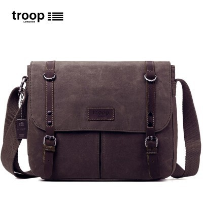 Troop London Heritage Canvas Large Messenger/Tablet Bag In Dark Brown
